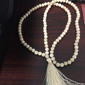Fossil stone mala beads